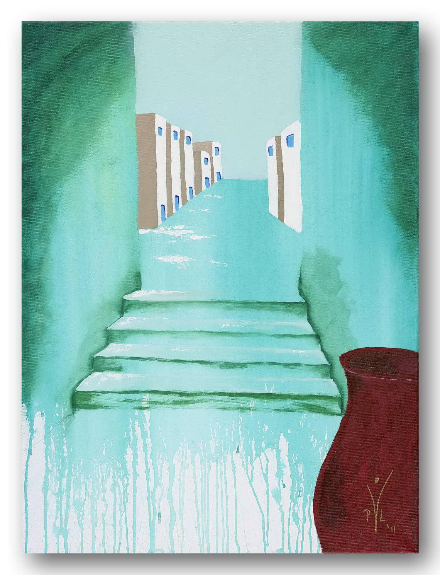 Treppe ins Glück - Acrylic / Canvas 60 x 80 cm, 23.6 x 31.5 inch