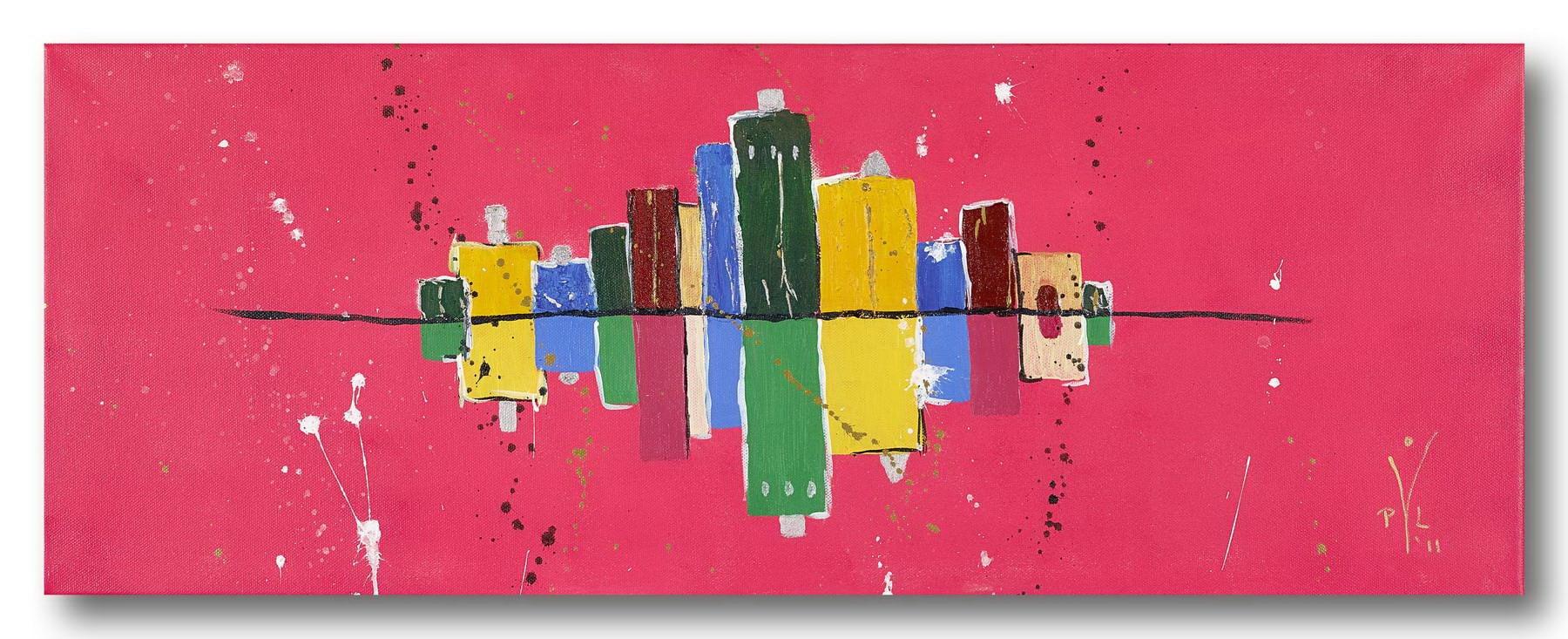 Skyline Magenta - Acrylic / Canvas 80 x 30 cm, 31.5 x 11.81 inch