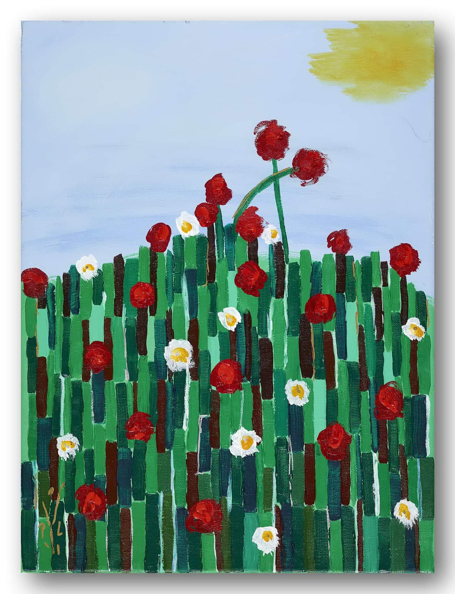 Blumenwiese - Acrylic / Canvas 30 x 40 cm, 11.81 x 15.75 inch