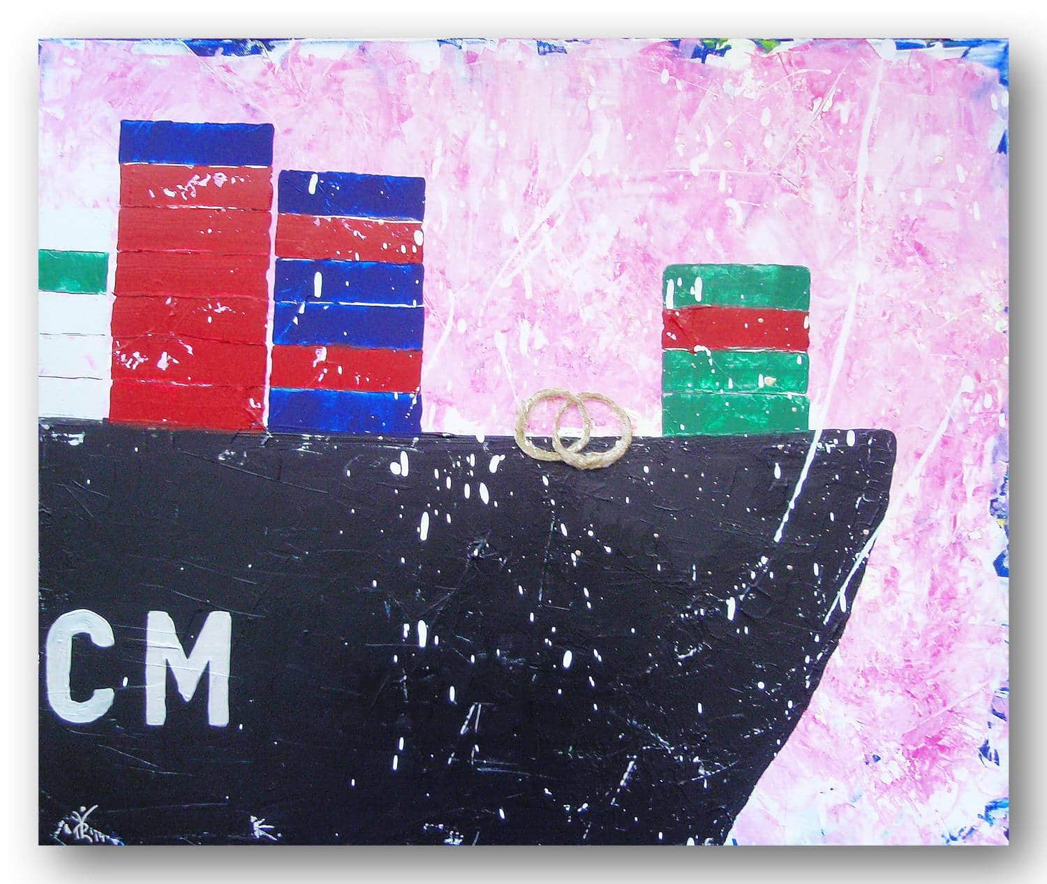 Shipping to Paradise - Acrylic / Canvas 70 x 58 cm, 27.6 x 22.6 inch