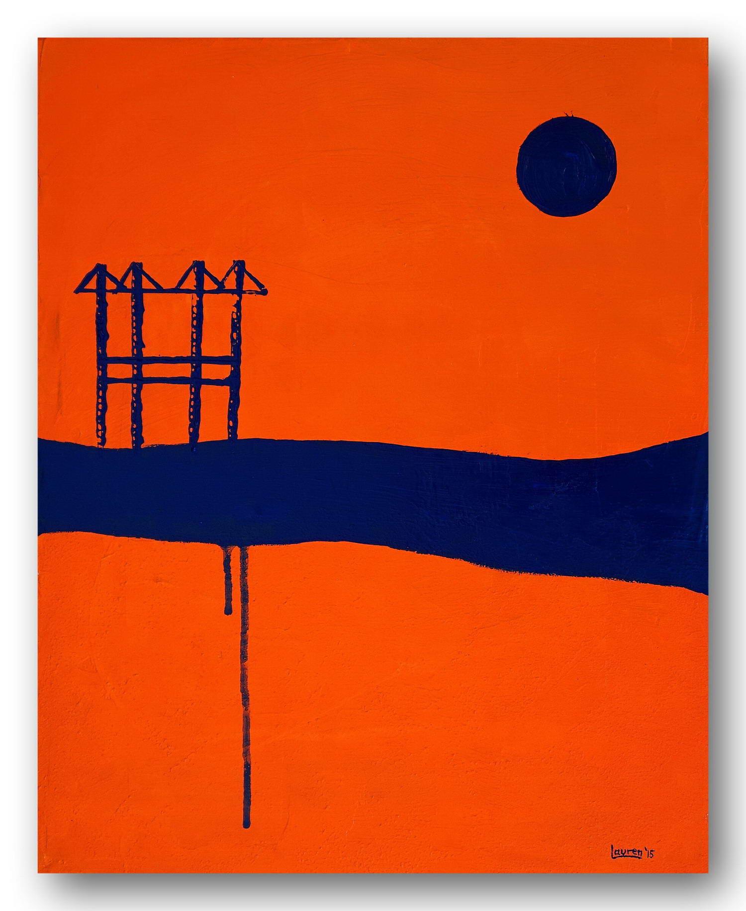 Blue Port - Acrylic / Canvas 40 x 50 cm, 15.8 x 19.7 inch