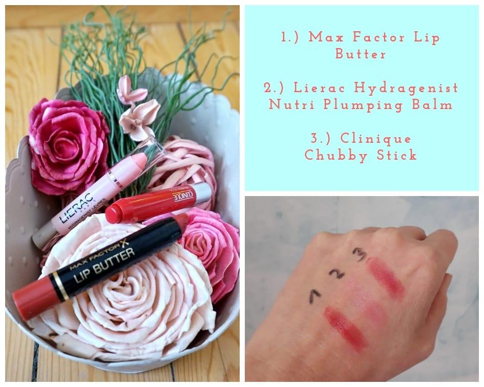 Lippenpflegestifte der Marken Clinique, Max Factor, Lierac