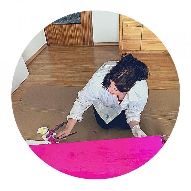 Pam Lauren Art - malt Acrylbild - Pink - Magenta
